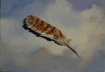 "Sky Feather, acrylic on canvas, 6"" x 8"" SOLD"