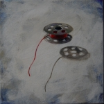 "Floating Bobbin, acrlic on canvas, 6"" x 6"" SOLD"
