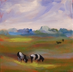 "Cows, acrylic on canvas, 6"" x 6"" SOLD"